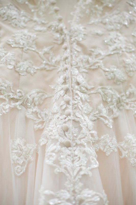 blush lace wedding gown detail