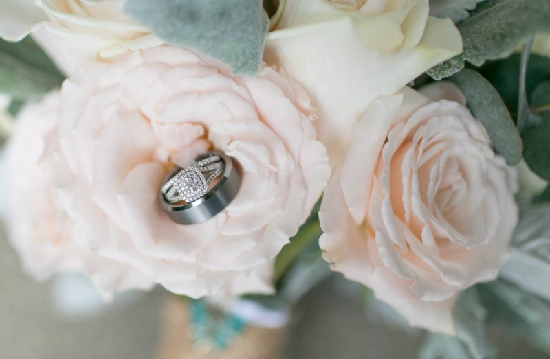 diamond wedding ring in blush rose