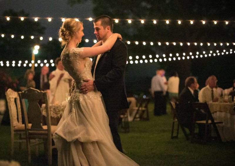 first dance under lights outside
