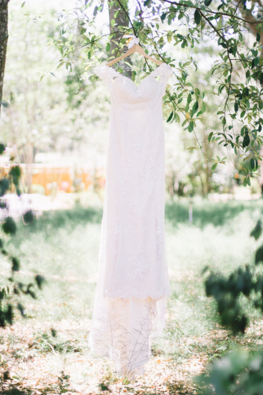 bride dress in trees