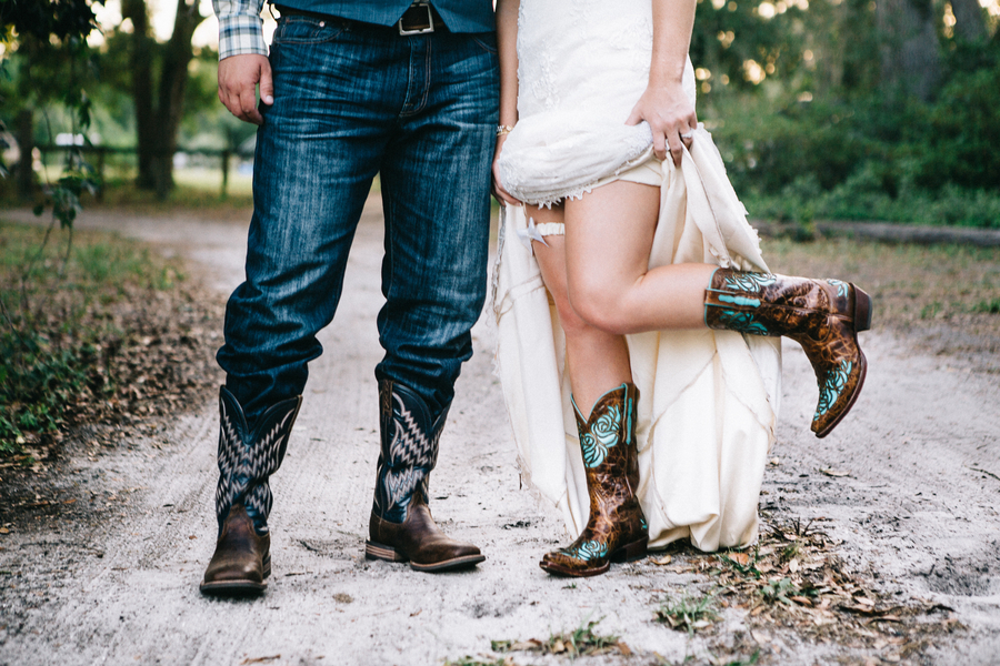 bride and groom cowboy boots