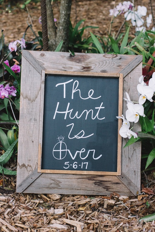 the hunt is over wedding sign