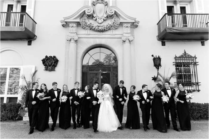 balck and white photo bridal party
