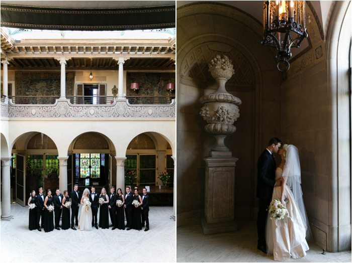 bridal party in mansion courtyard