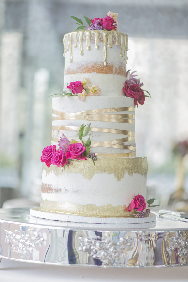 pink and gold foil cake
