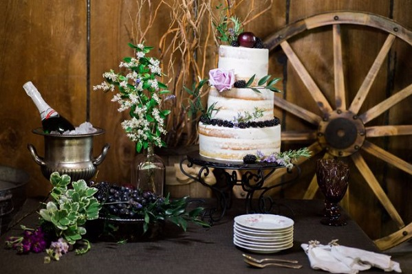 wedding cake with blackberries