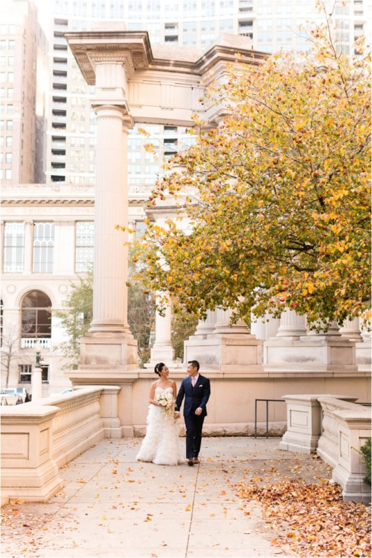 Rookery bride and groom walking outside