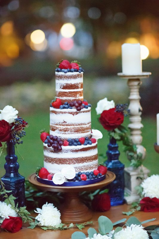 red while and blue wedding cake