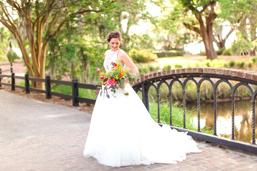 Bridal Portrait Featuring a Stunning Colorful Bouquet