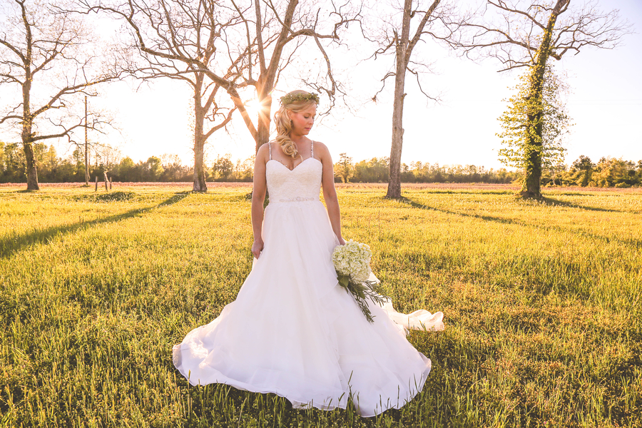 Spring Bridal Portrait in Lake Waccamaw, North Carolina