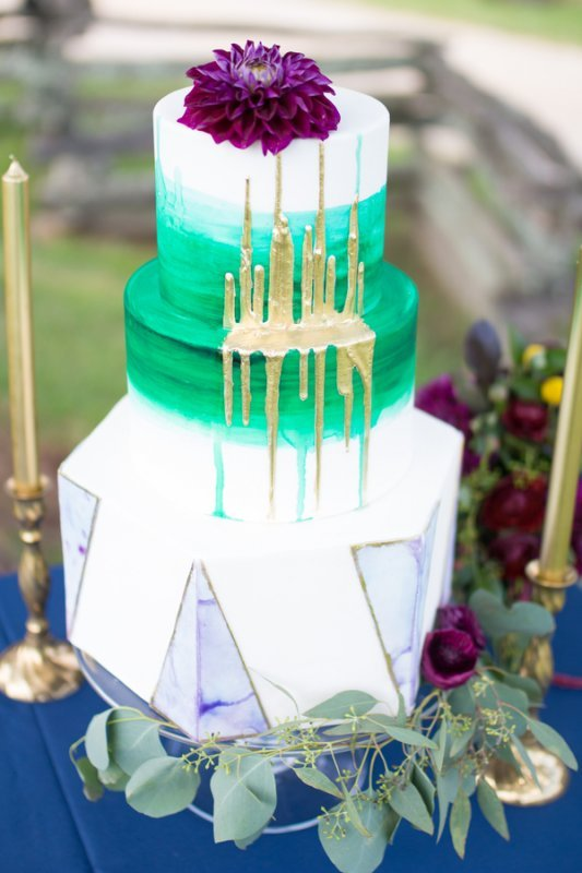 green and gold drip cake