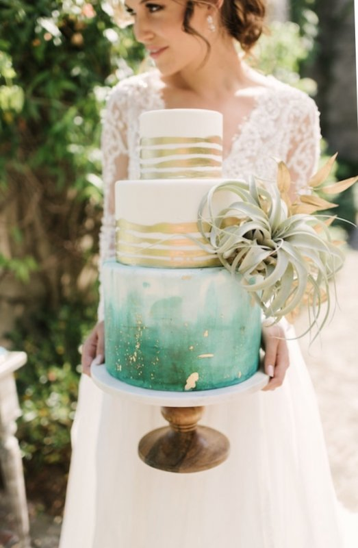 Teal Green and Gold foil cake