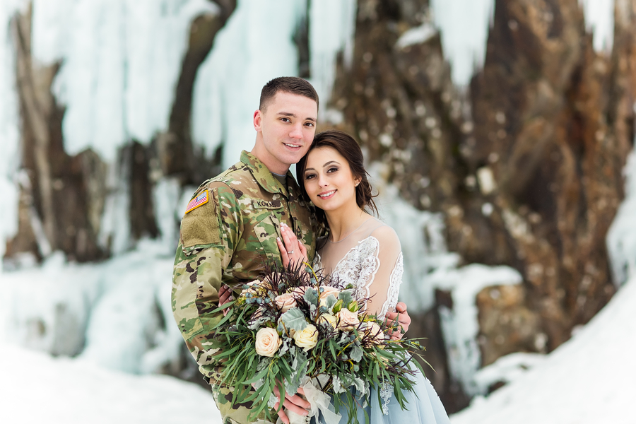Frozen Waterfall Engagement Session at Franklin Falls, Washington