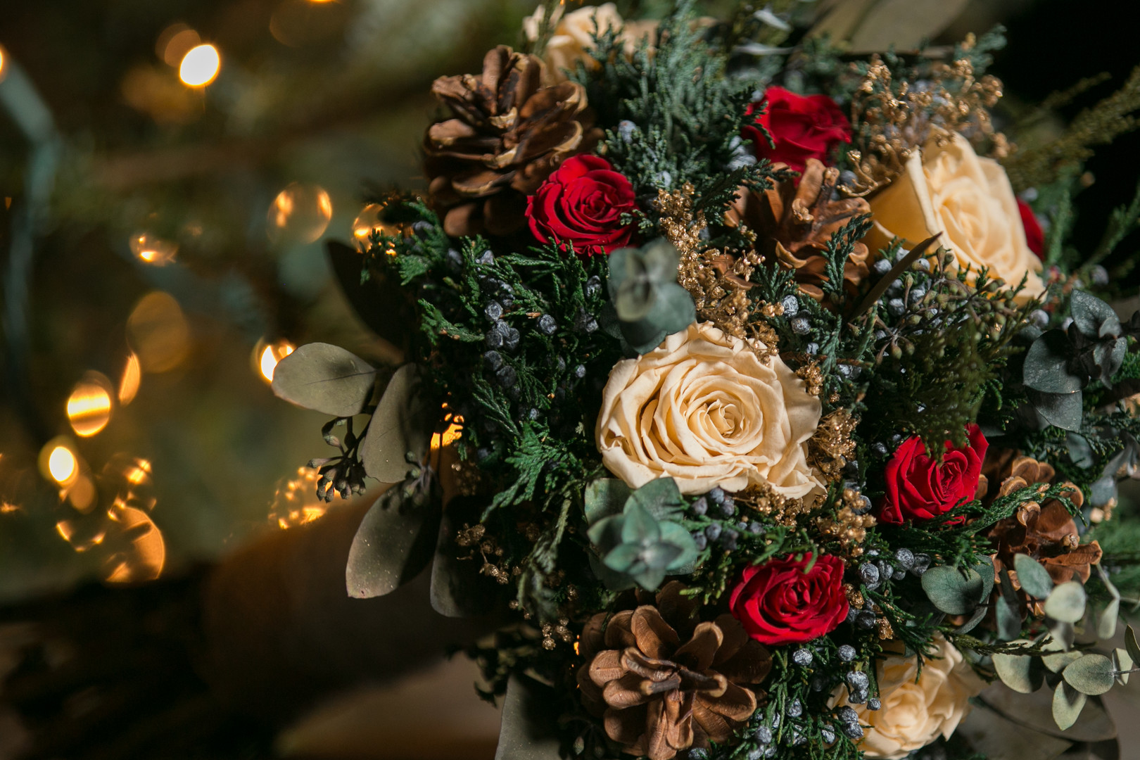 white and red rose holiday bouquet Christmas Wedding Ideas In December