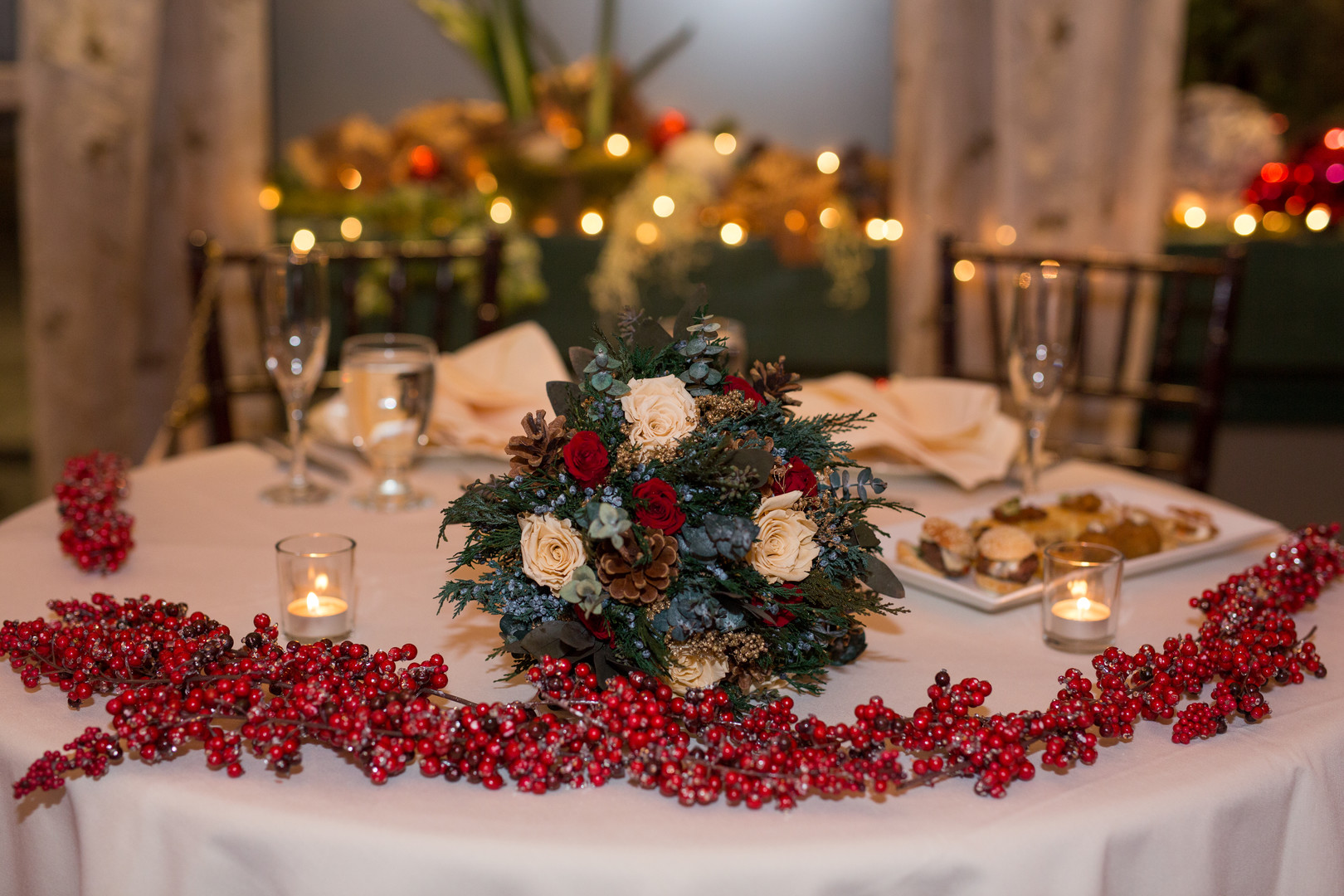red garland table decor Christmas Wedding Ideas In December