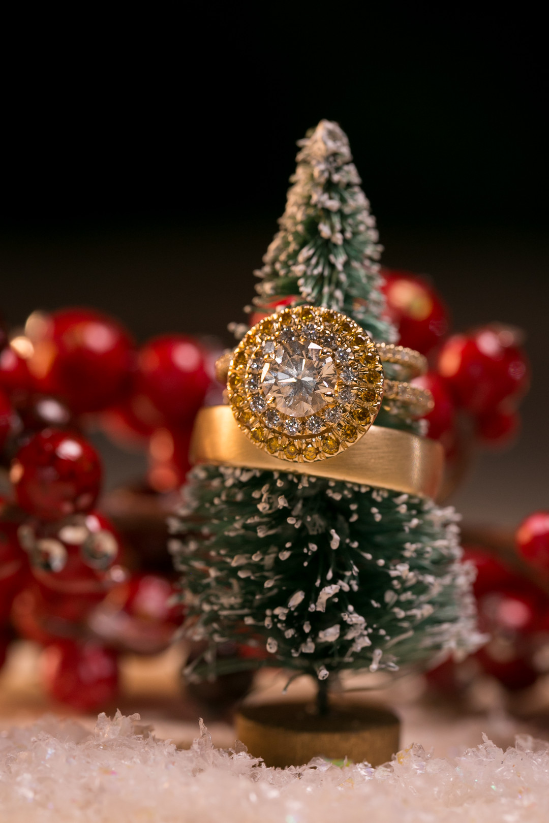gold halo ring on a mini Christmas tree favor Christmas Wedding Ideas In December