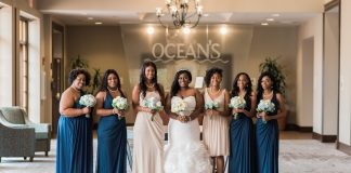 bride with bridesmaids in fron of oceans sign in myrtle beach