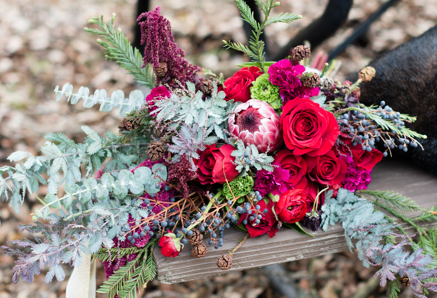 Glam Winter Elopement Featuring A Deep Colored Bouquet