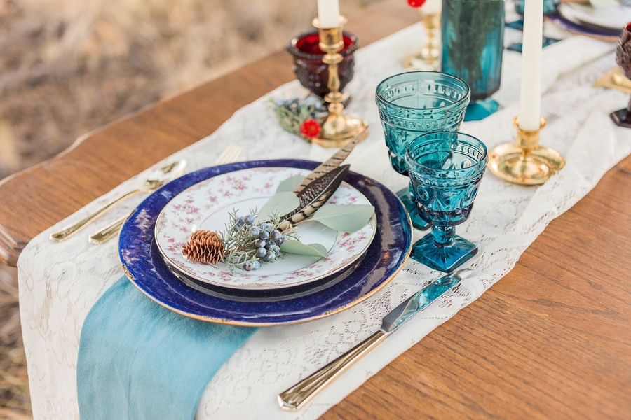 boho blue place setting with goblets