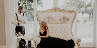 Old Hollywood Glam black wedding dress