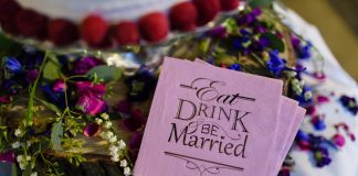 eat drink and be married wedding napkin