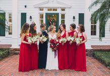 ruby red bridesmaids
