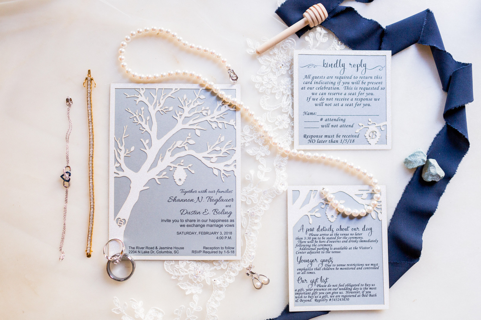 navy blue wedding invitation with tree