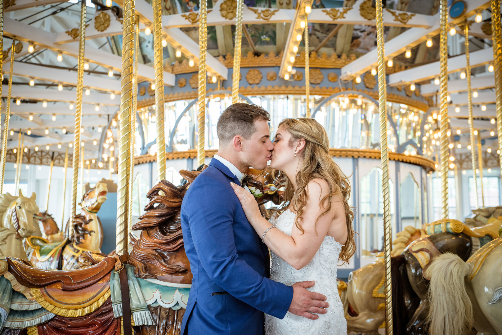 lighthouse point wedding in new haven carousel