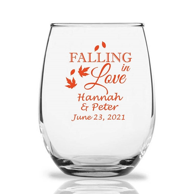 stemless wine glass fall wedding favor