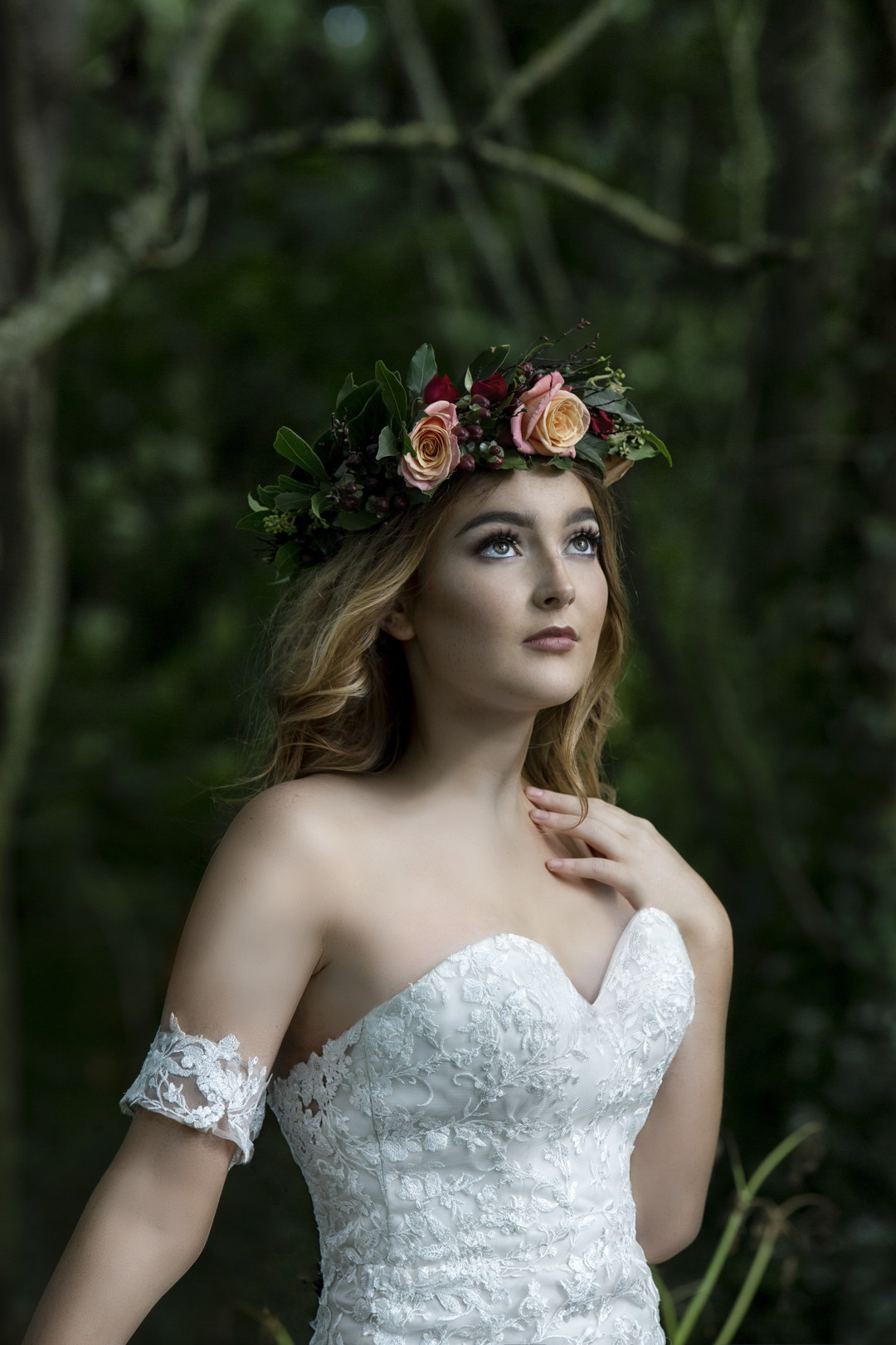 celtic bride with a beautiful floral crown