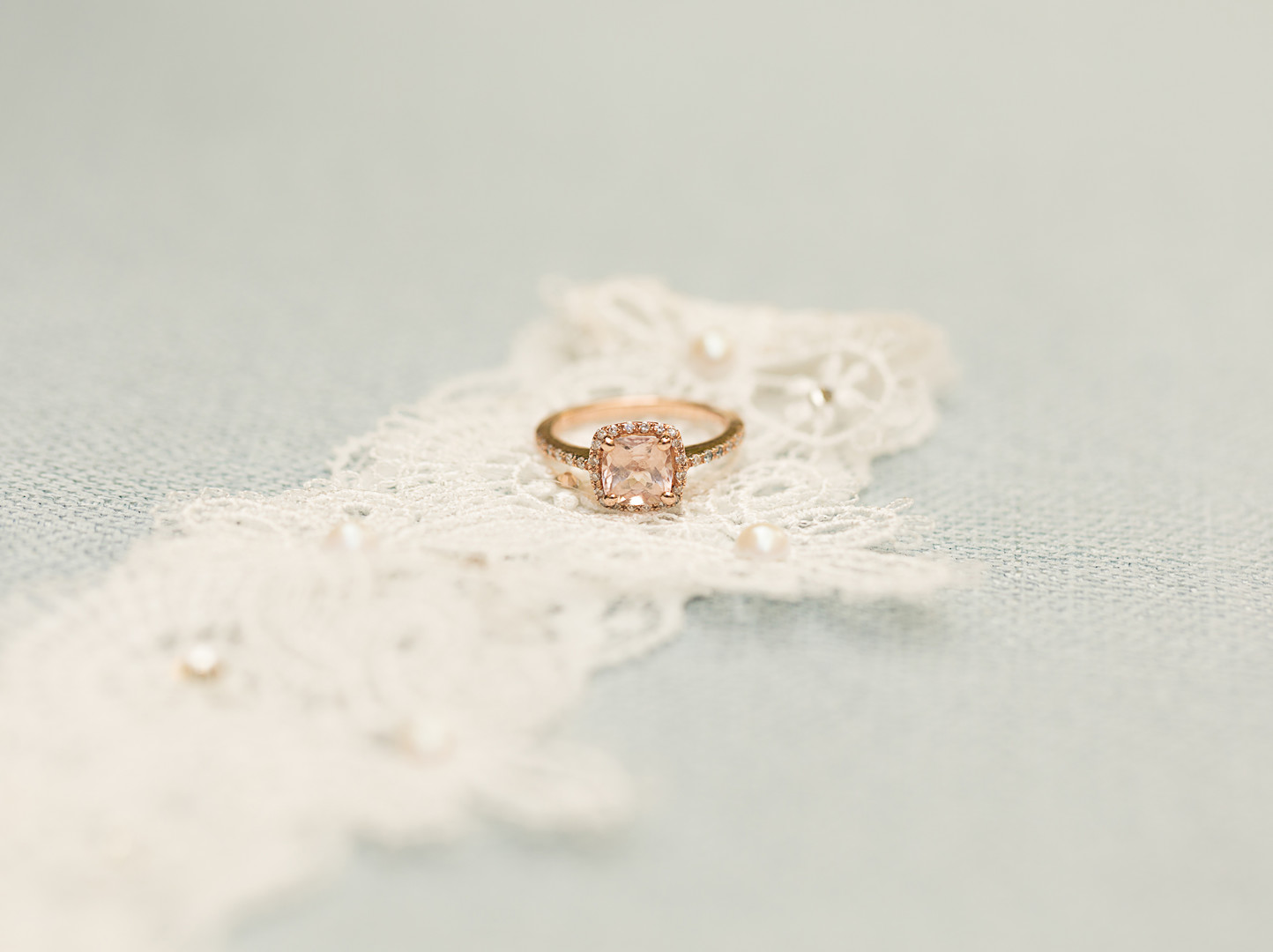 princess cut pink stone diamond ring