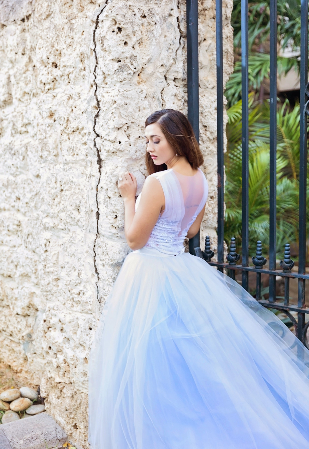 lace and tulle powder blue wedding dress