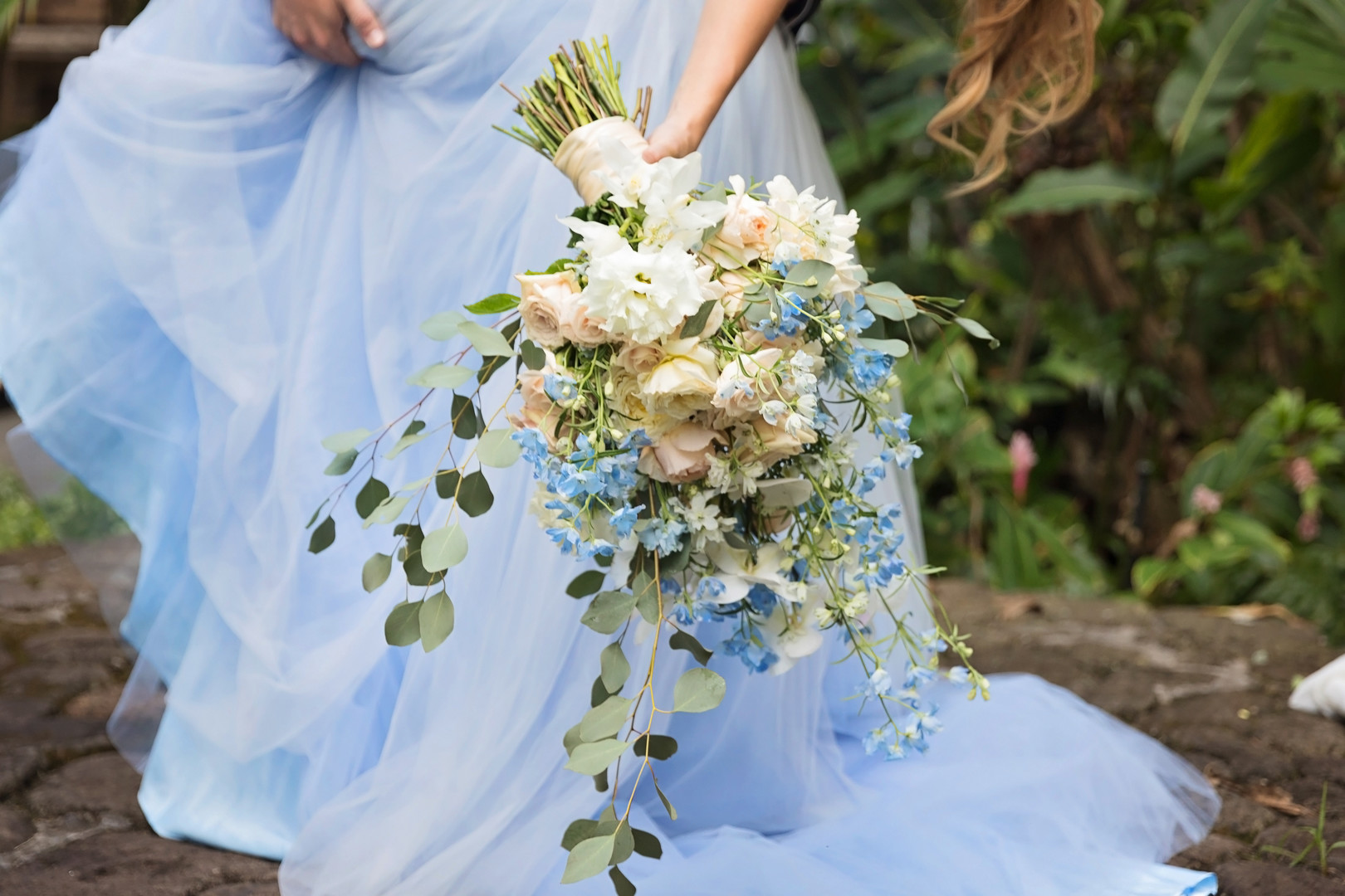 powder blue and cream flowers