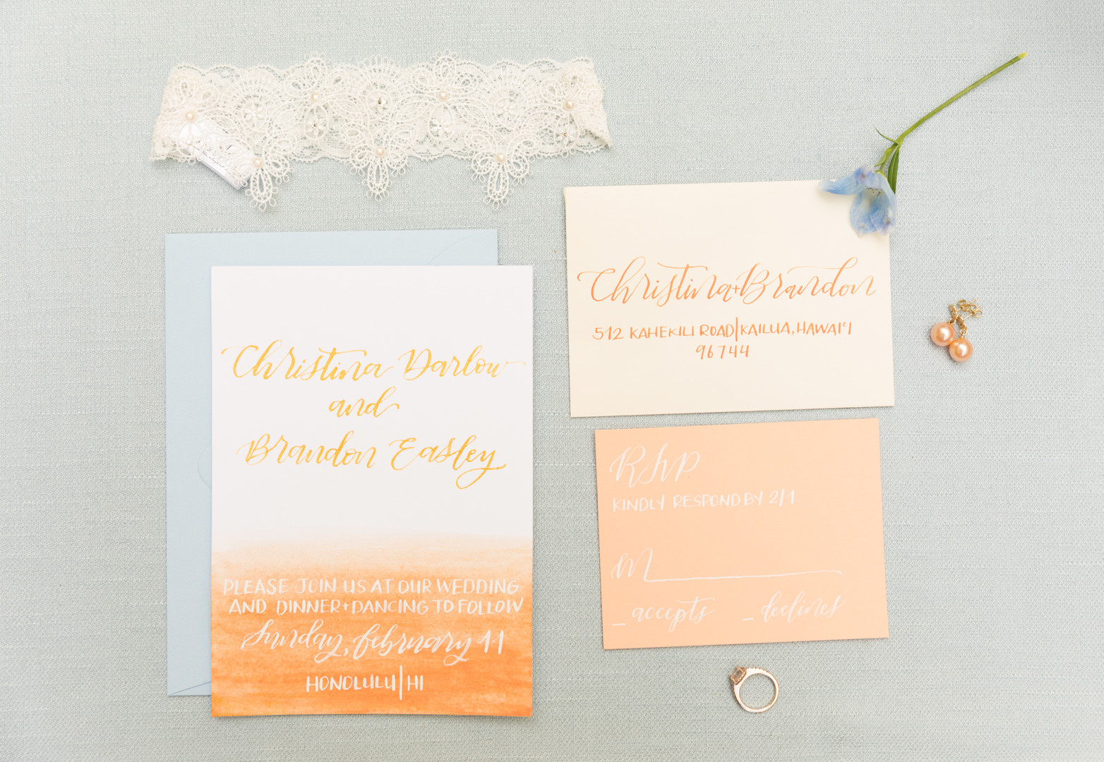 orange and blue ombre invitation