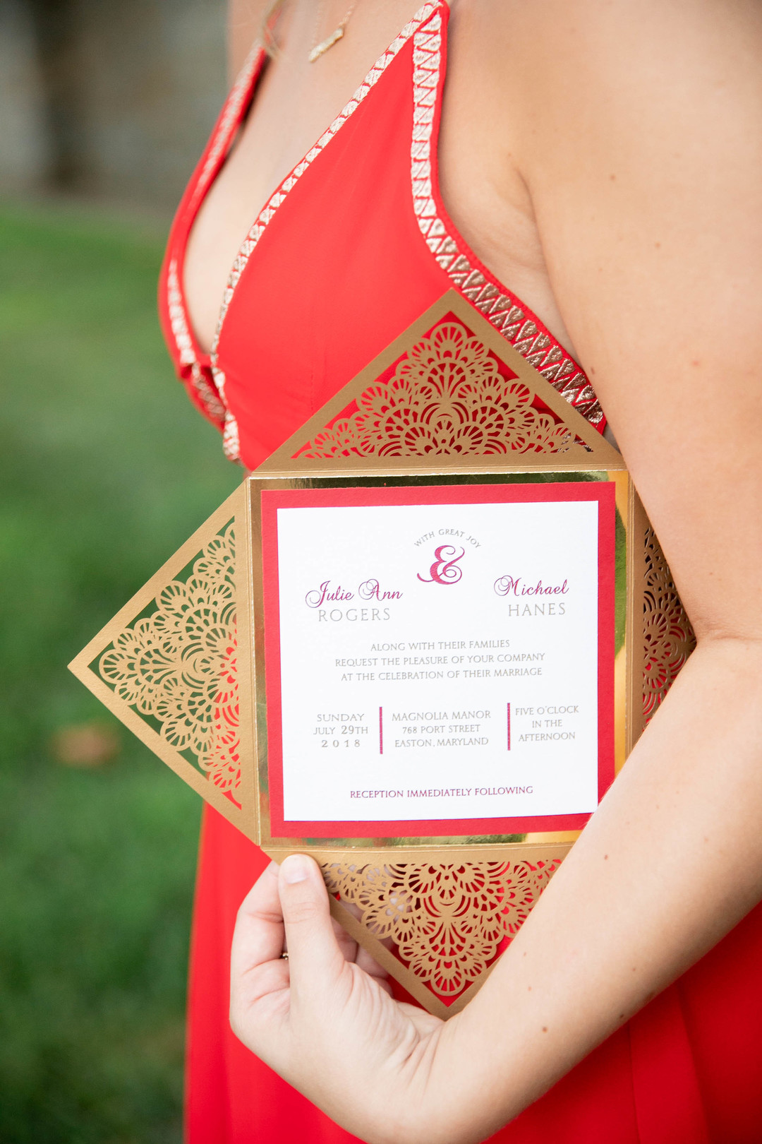red and gold art deco invitation suite