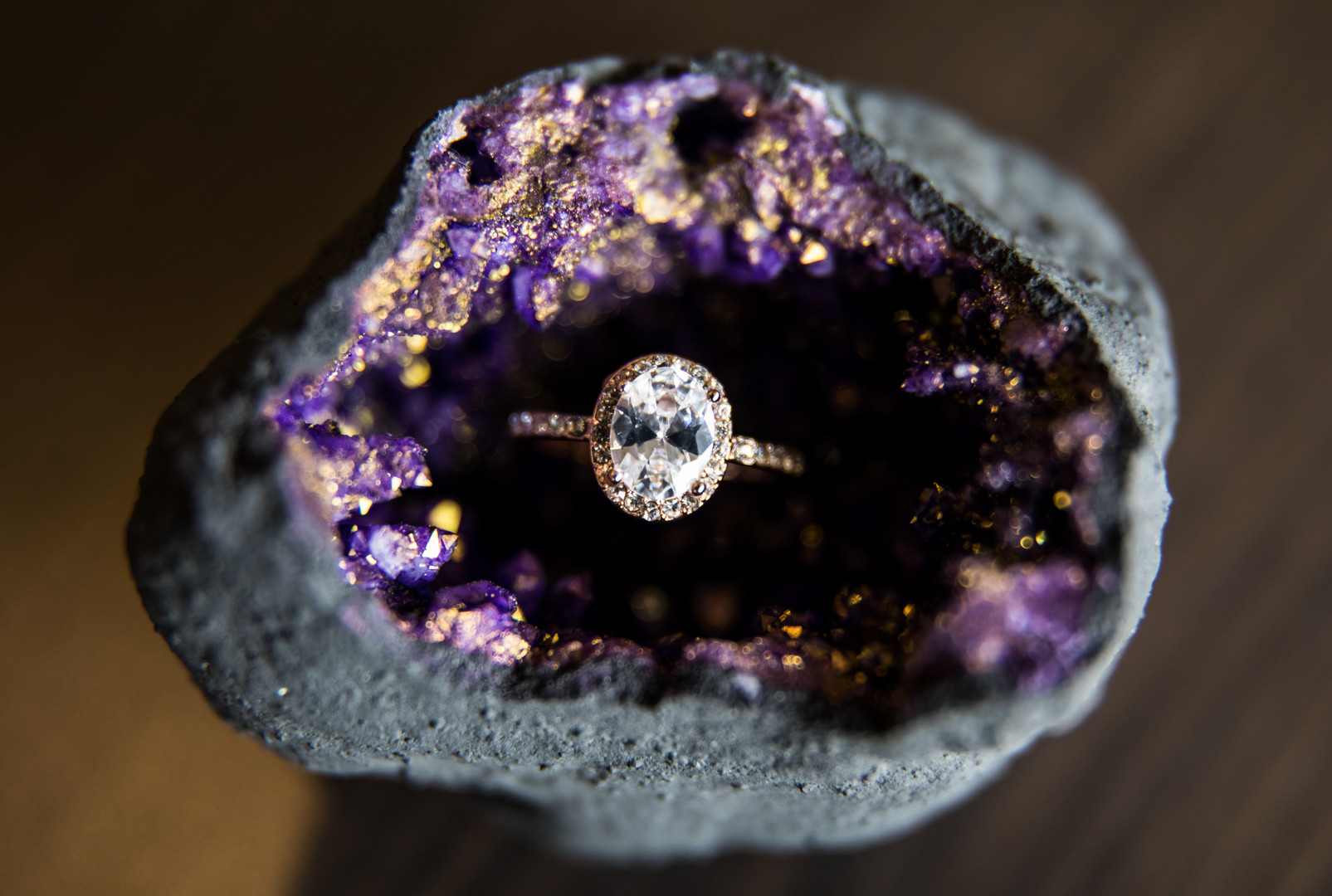 round halo engagement ring in purple crystal stone