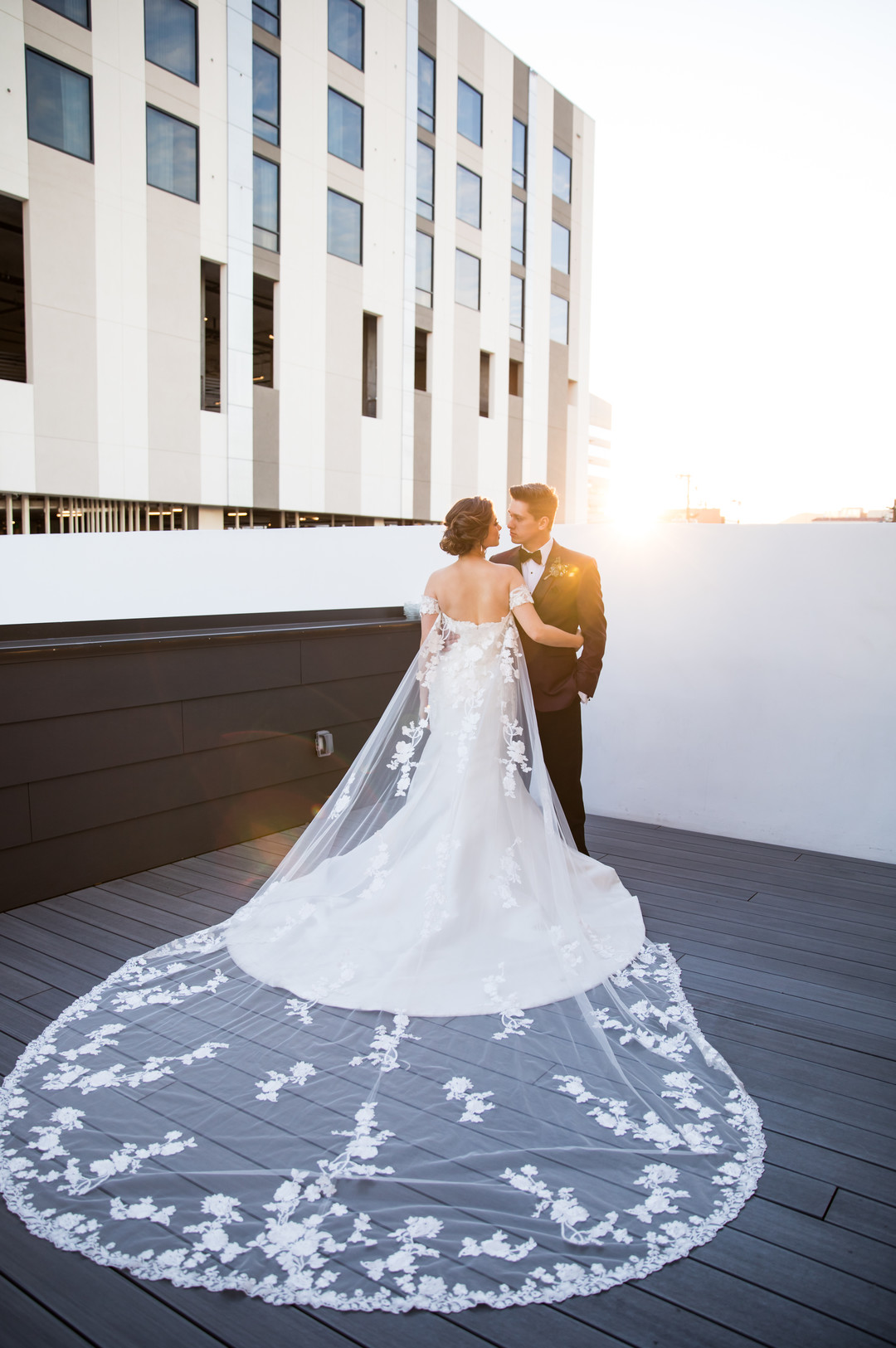 cathedral floral wedding cape