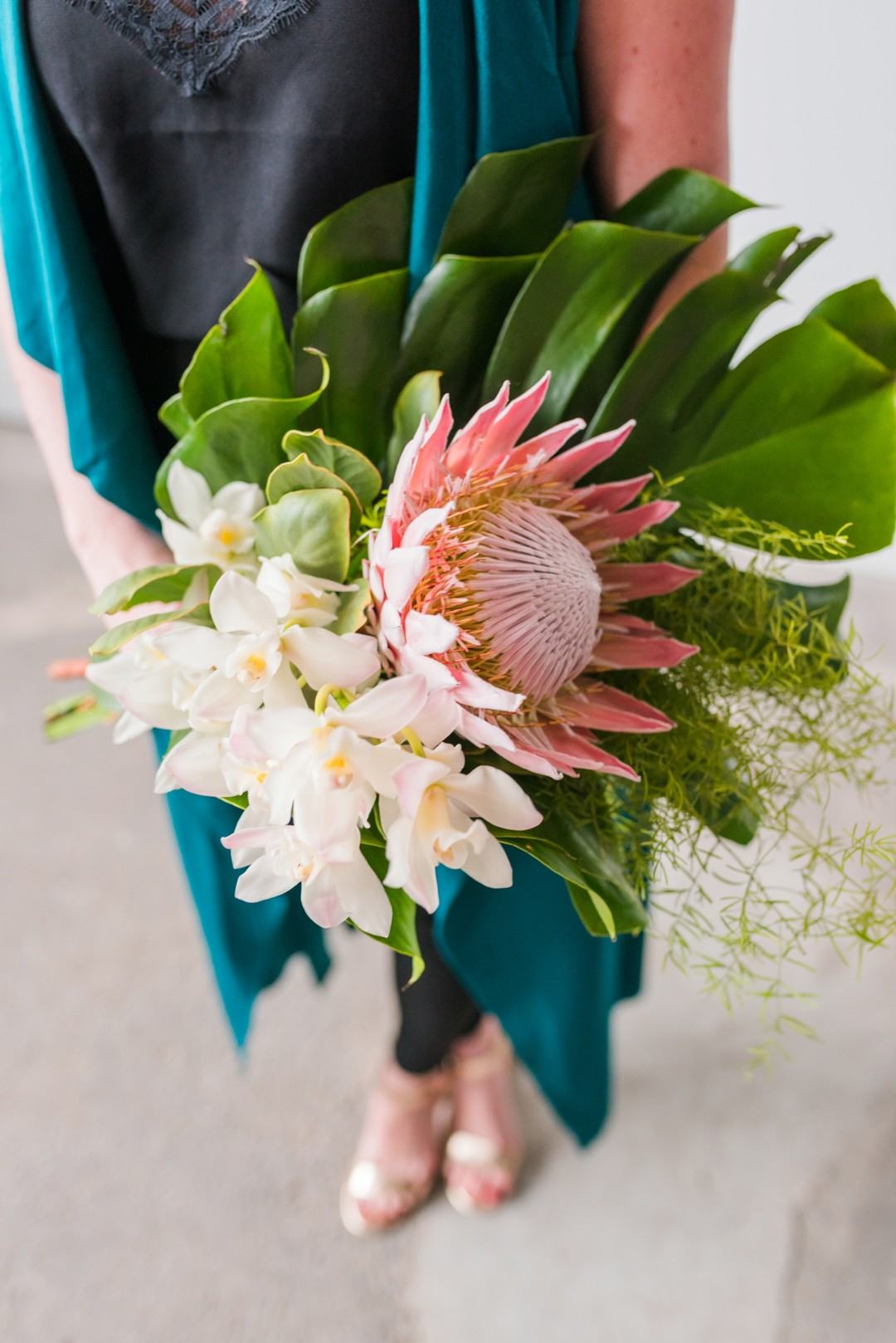 pink protea engagement bouquet