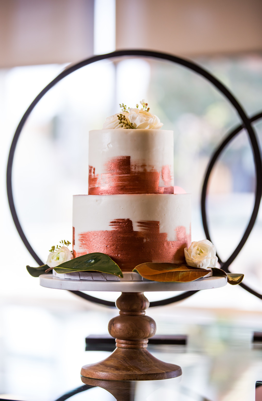 bronze brushed wedding cake
