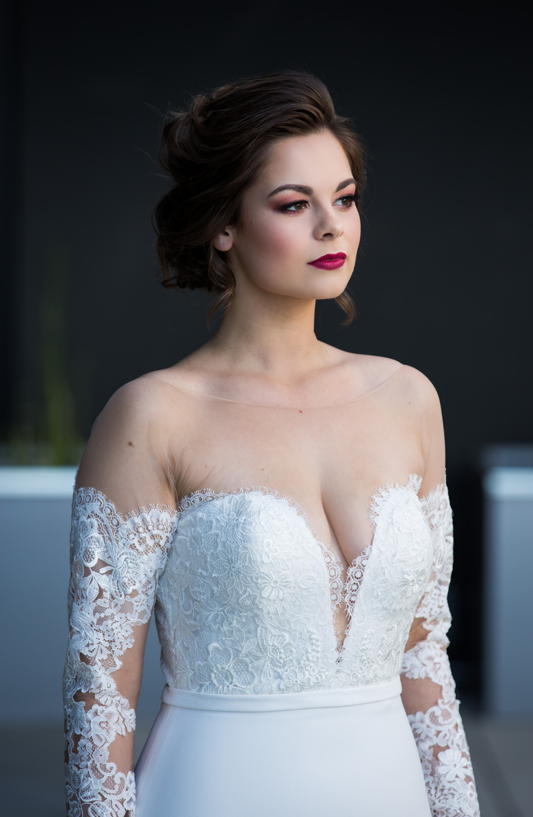 illusion top lace wedding gown fitted