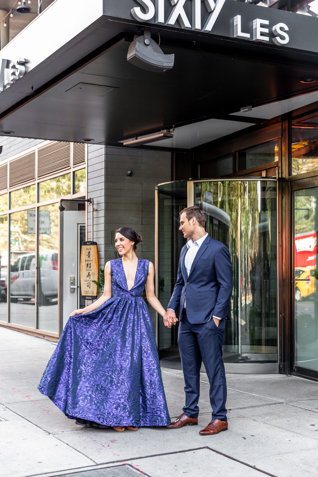 purple gown city engagement session