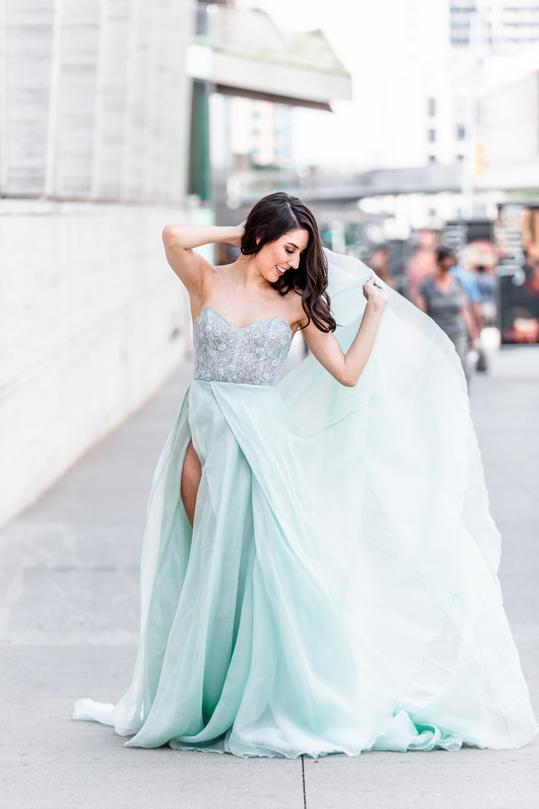 flowing mint blue gown with beading