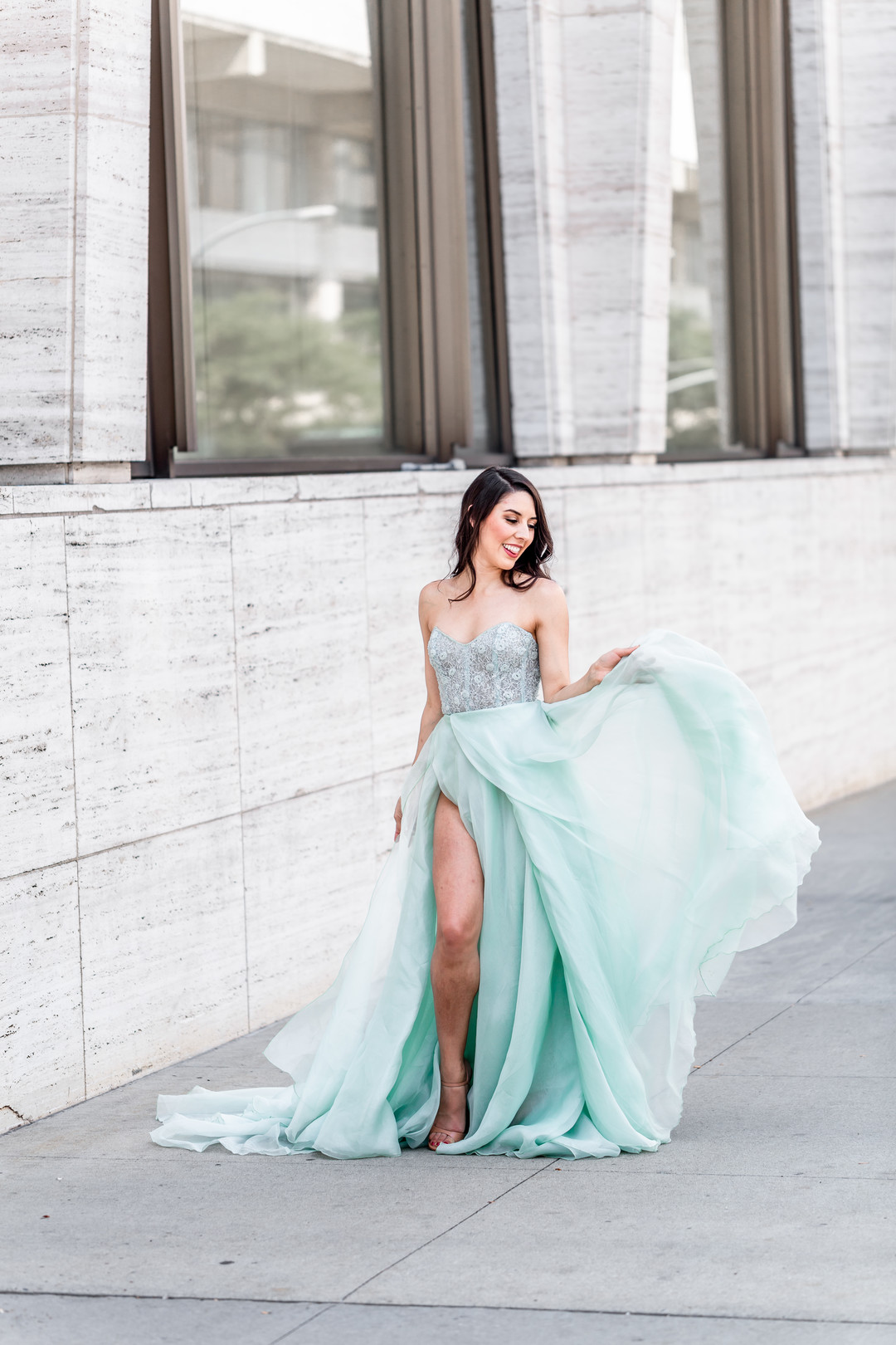 mint colored gown long and flowing