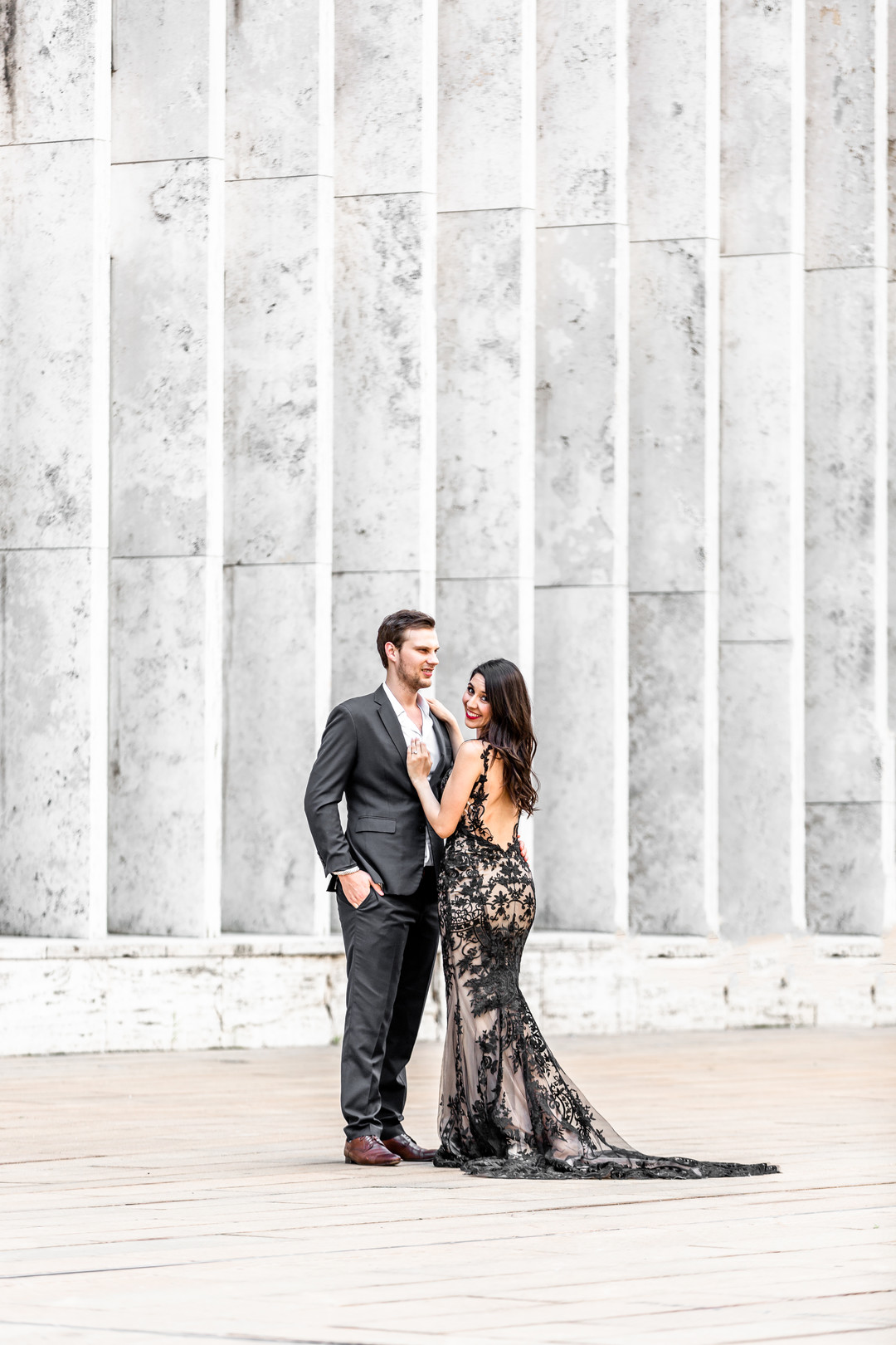 fit and flare black lace gown
