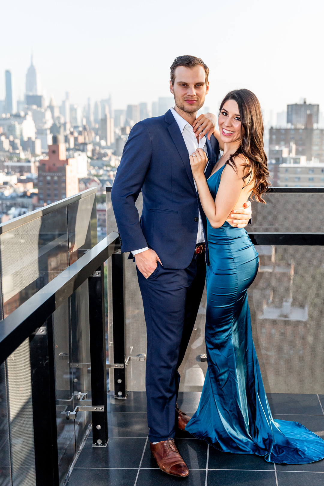 low back fitted blue engagement dress