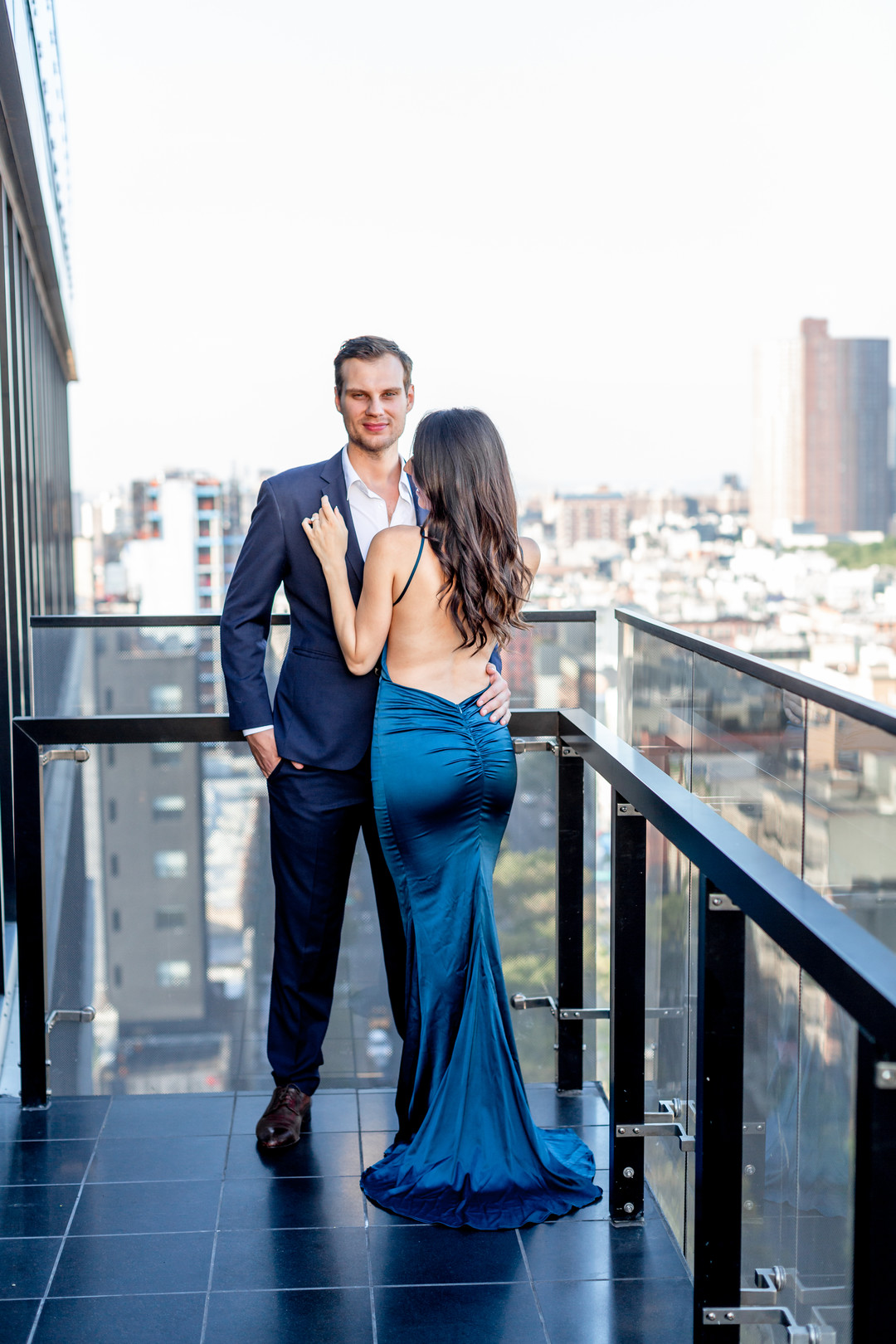 low back fitted blue gown