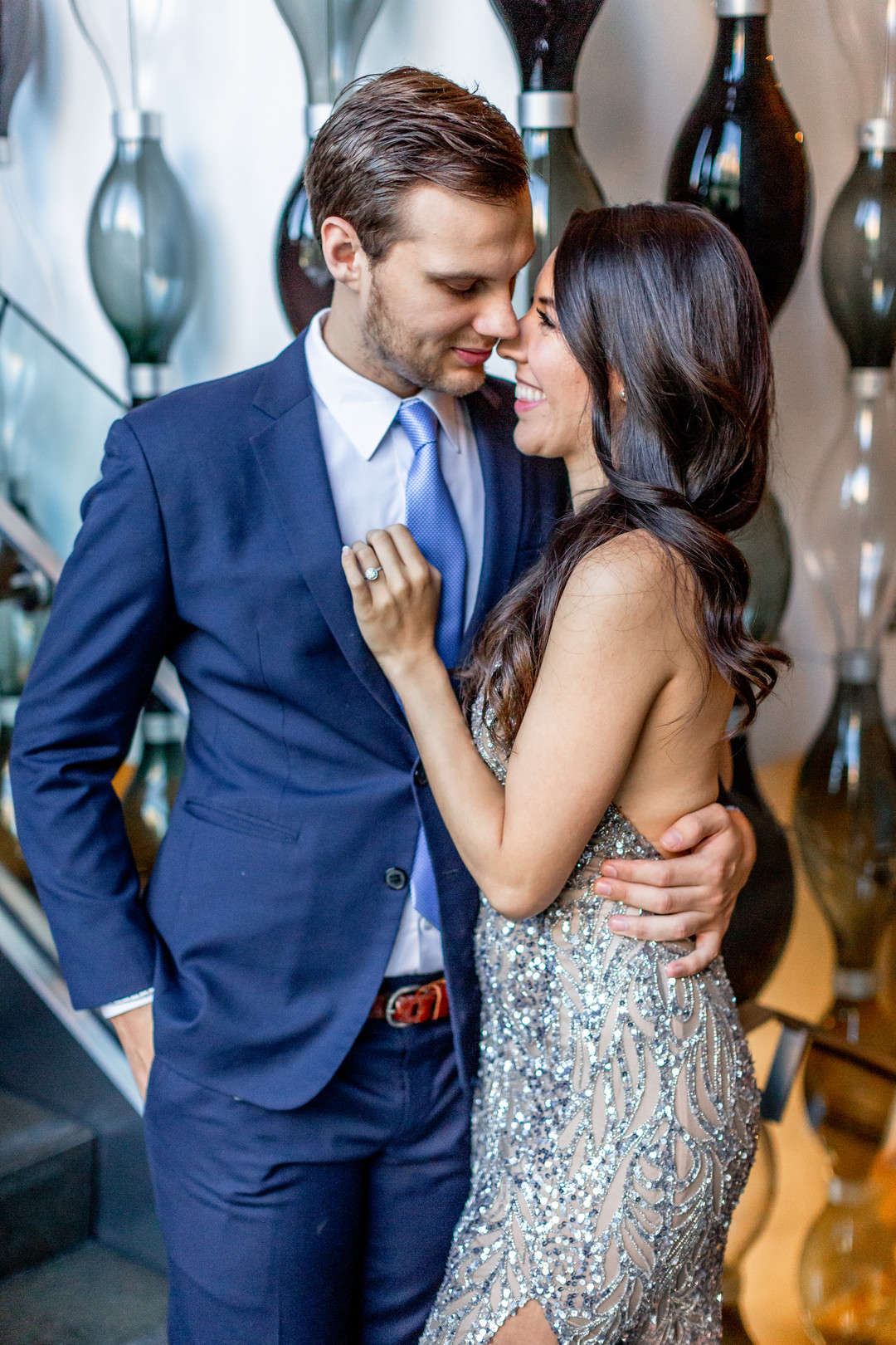 silver beaded gown engagement photo