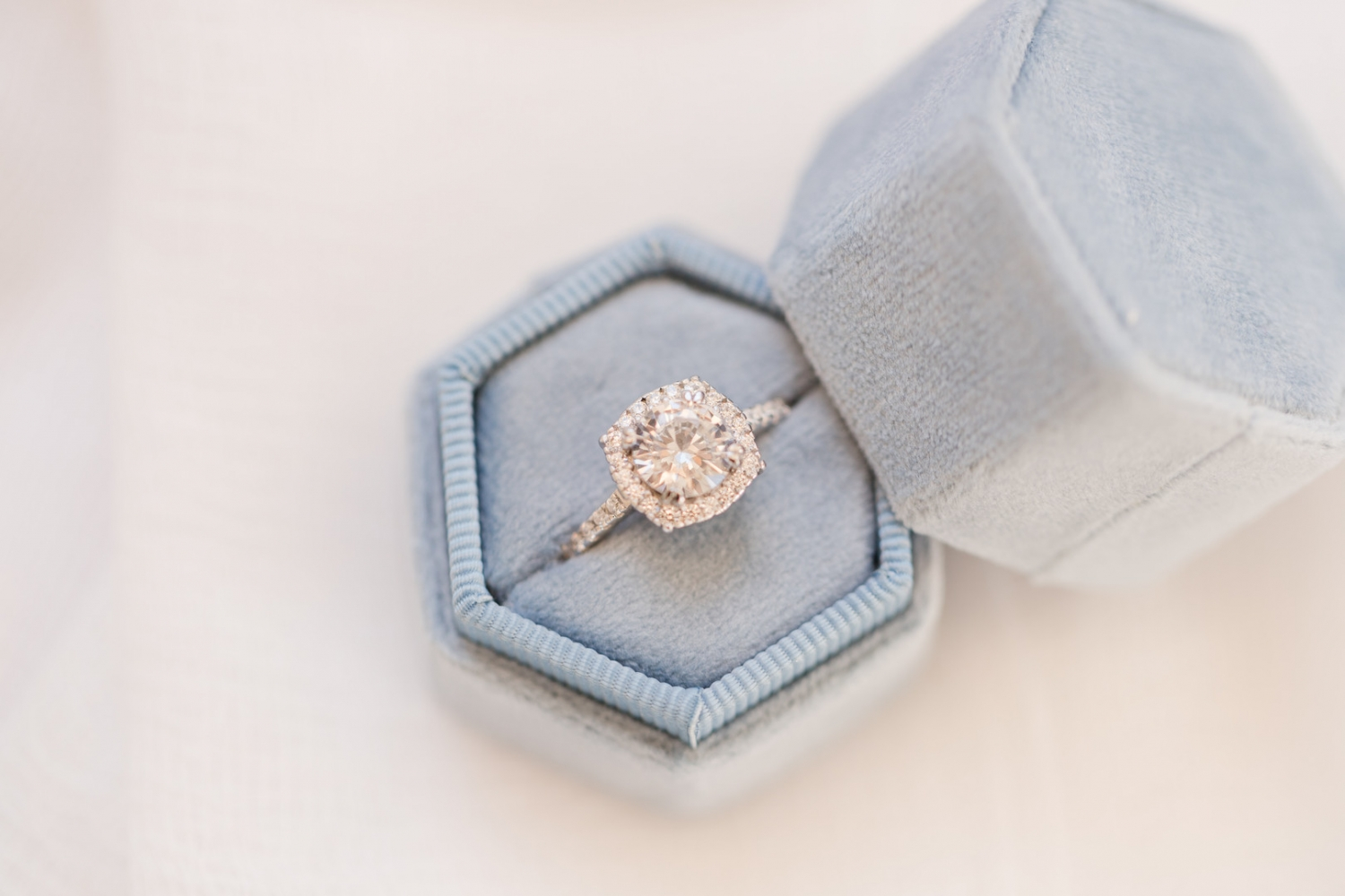 light blue hexagon ring box