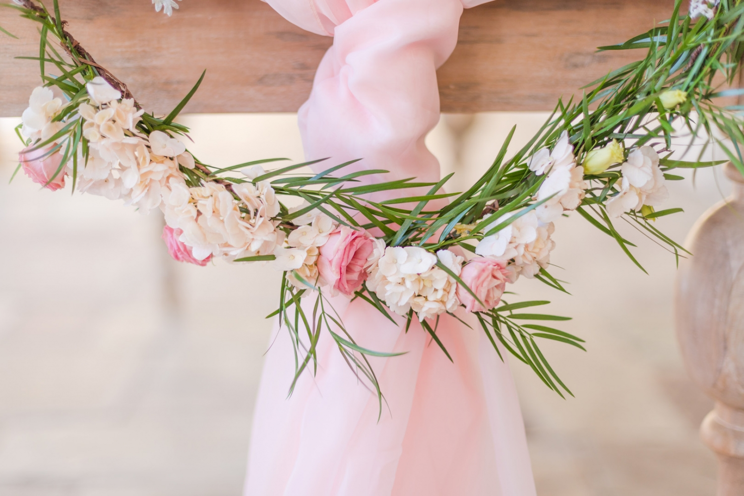 light pink wedding table decor