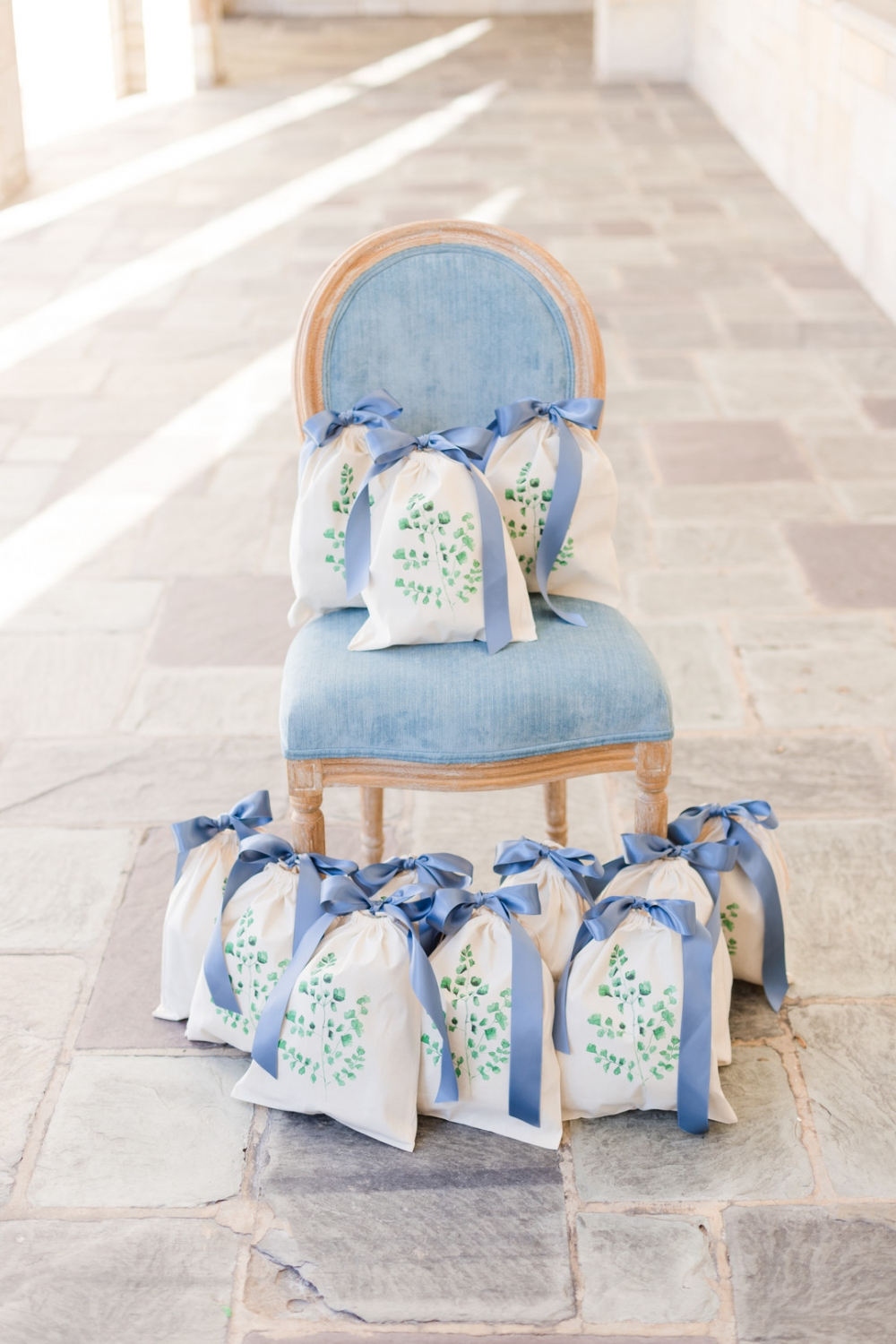 light blue wedding favor gift bags